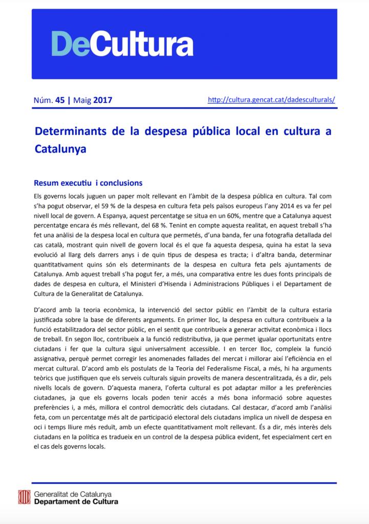 Determinantes del gasto público local en cultura en Cataluña
